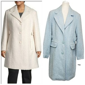 NWT GALLERY boucle princess seam notch collar coat
